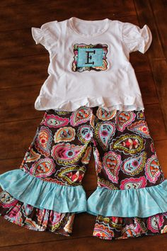 Brown and Turquoise Monogrammed Shirt and Ruffle Pant Outfit. $45.00, via Etsy.