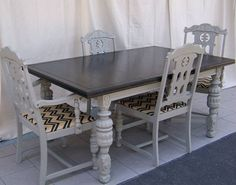 Dining Table 6 chairs 2 extensions SOLD by WeatheredtoTreasured, $1295.00