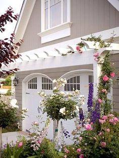 pergola above garage doors.I already have the pergola, now I need those climbing roses! Door Arbor, Dream Garden, Home And Garden, Garage Pergola, Garage Trellis, Pergola Kits, Pergola Ideas, Small Pergola, White Pergola