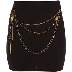 Paprika Black Chain Mini Skirt ($12) ❤ liked on Polyvore