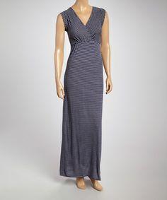 Navy & Gray Stripe Surplice Maxi Dress - Women