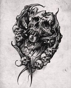 Goth Tattoo, Boho Tattoos, Sick Tattoo, Skull Tattoos, Baby Tattoo Designs, Skull Tattoo Design, Black Art Tattoo, Tatoo Art, Tattoo Sketches