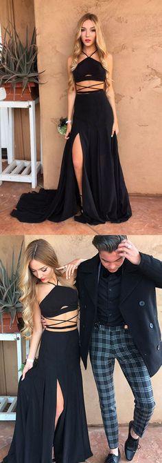 Hot Sexy Halter Black Chiffon Long Prom/Evening Dress