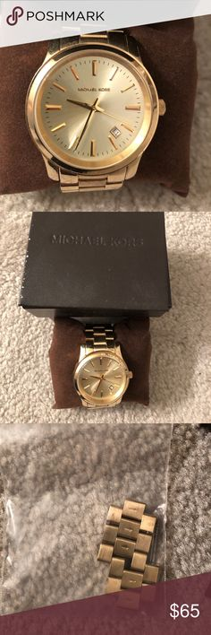 Gold Michael Kors Watch The battery is dead and needs to be replaced. There are a few extra links. Watch in really good condition with minor scratches. The face is in perfect condition with no scratches. Bought originally from a Nordstrom. Michael Kors Accessories Watches