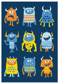 creatures multi Nursery art boy boys monster print monster art by BubbleGumYears Art And Illustration, Monster Illustration, Cute Monsters, Little Monsters, Doodles, Childrens Wall Art, Monster Art, Monster High, Art For Kids