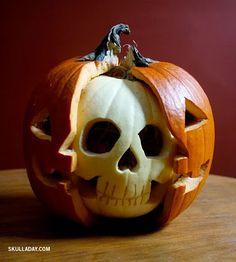 pumpkin with white pumpkin skull inside + other great halloween ideas