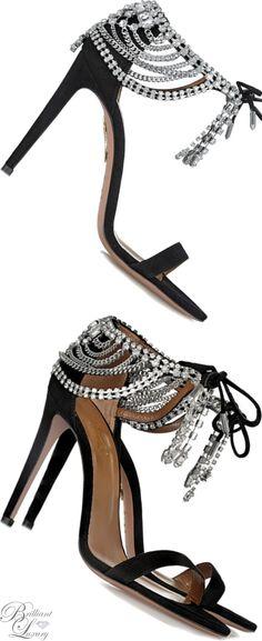 Brilliant Luxury * Aquazzura Embellished Suede Sandals