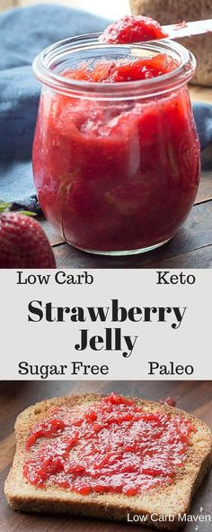 A sugar free strawberry jelly recipe perfect for low carb keto or Paleo diets. T… A sugar free strawberry jelly recipe perfect for low carb keto or Paleo diets. This no pectin jam recipe is thickened with gelatin and super easy to make. Strawberry Jelly Recipes, Sugar Free Strawberry Jam, Sugar Free Jam, Sugar Free Recipes, Jam Recipes, Low Carb Recipes, Healthy Recipes, Strawberry Preserves Recipe Low Sugar, Sugar Free Peach Jam Recipe
