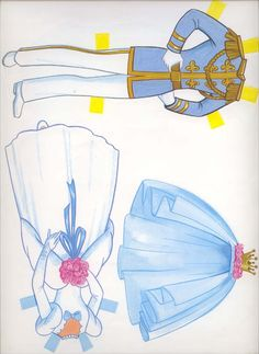 paper doll cinderella, prince and sisters | Note the stars on the blue dress. Also if you are cutting these out it ...