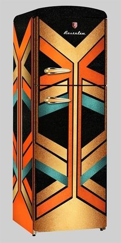 This Art Deco refrigerator is colorful and bold, featuring geometric and angular decoration.