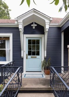 Exterior Bungalow Colors Entrance 64 Ideas For 2019 House Designs Exterior, Exterior Design, Front Door, Navy Blue Houses, Bungalow Exterior, Exterior Paint Colors For House, Paint Colors For Home, House Exterior Blue, Exterior Doors