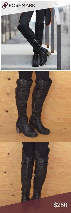 FREE PEOPLE LIVINGSTON BLACK OVER KNEE MOTO BOOTS RARE FREE PEOPLE LIVINGSTON BLACK SPANISH LEATHER TALL OVER KNEE MOTO BOOTS they have a distressed look too them. I love them but just don't think I look good in over the knee boots BRAND NEW size 9 Free People Shoes Over the Knee Boots