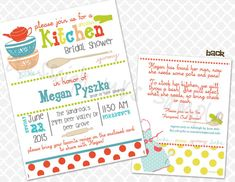 Pampered Chef Kitchen Recipe Bridal Shower Invitation by Inksnsuch, $1.38