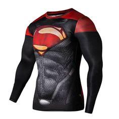 Mens Long Sleeve Compression T-shirt Marvel DC Comics Superman Tight Sports Tee