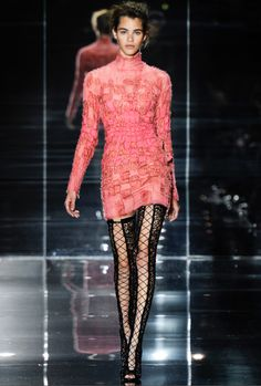Tom Ford SS14 - Look 19 | Pink degrade patchwork dress.  Black nappa net lace-up thigh-high boots.