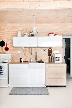 modern cottage kitchen, plywood and white