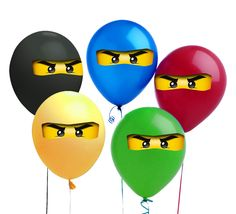 Ninjago Balloon Stickers Gift Tags or Iron On - Ninjago Party Favor For Birthday Party To Match Ninjago Invitations