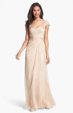 La Femme Lace Appliqué Sweetheart Chiffon Gown