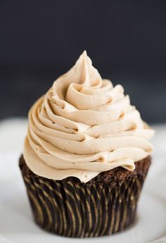 Mocha Cupcakes with Espresso Buttercream Frosting | Brown Eyed Baker | Bloglovin'