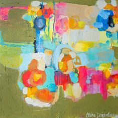 EXPRESSIONS - Be There At Six - original acrylic abstract painting by Claire Desjardins