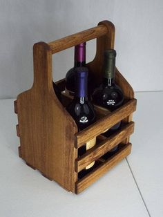 Wooden wine caddy bottle) in Early American stain Small Wine Racks, Rustic Wine Racks, Beer Caddy, Wine Caddy, Wine Carrier, Bottle Carrier, Wine Rack Design, Entry Tables, Wine Baskets