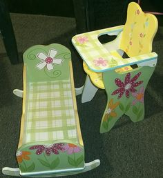 i like the paint job Baby Doll Bed, Doll Beds, Baby Dolls, Hand Painted Chairs, Hand Painted Furniture, Painting Furniture, Doll Painting, Painting For Kids, Chalk Painting