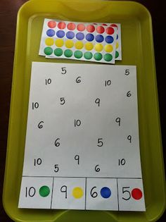 Number matching - could use colored sticker dots (fine motor) or use crayon/marker/bingo marker to match.