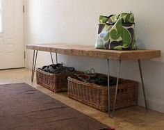 Reclaimed Wood Bench Metal Hairpin Legs