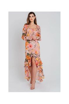 Pretty Darling Pink Floral Chiffon Sweetheart Maxi Dress size: 8 UK, c Dresses Uk, Cute Dresses, Casual Dresses, Dresses With Sleeves, Sleeve Dresses, Satin Midi Dress, Midi Shirt Dress, Floral Chiffon Maxi Dress, Floral Dresses
