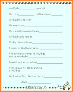 Did this for all the dads/grandpas for Father's Day this year and added the kiddos' pics at the bottom. My dad liked it especially and called my daughter to read through them with her. The answers are adorable and hilarious.