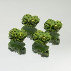 Ceramic Tiny Green Frog Beads Set of 4