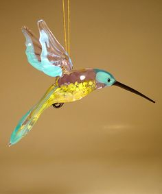 Another great find on Blue & Yellow Glass Hummingbird Figurine Ornament by Glass Lilies Clay Birds, Hummingbird, Blue Yellow, Vibrant Colors, Glass Art, Lily, Ornaments, Bugs, Polymer Clay