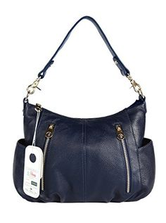 ilishop Women's Fashion Genuine Leather Cross Body Shoulder Bag Satchel Handbag (Navy) * Want to know more, click on the image.