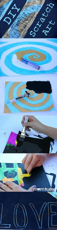 DIY Scratch Art Paper - It's super easy and you can make it in any color and pattern you can think of. KIDS LOVE IT!