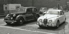 1946 Austin 12 and a Manchester City Jaguar MK 2 Police car Police Cars, Manchester City, Jaguar, Antique Cars, Times, Vehicles, Vintage Cars, Car