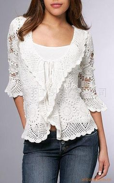 Lovely Crochet Cardigan. Beautiful Motifs. Lacey.