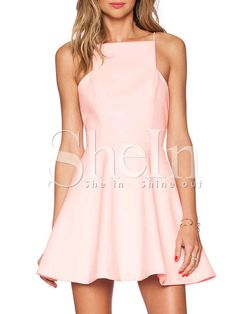 Pink Blush Spaghetti Strap Zipper Flare Dress -SheIn(Sheinside) Mobile Site