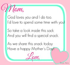 Free Mother's Day Snack Tag Printable - did this last year and let the kids decorate the snack bags!  So fun.
