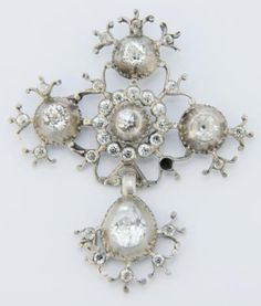 Cross from Saint Lô, Normandy, silver and strass
