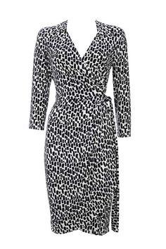 Monochrome 3/4 Sleeve Wrap Dress Price: £45.00