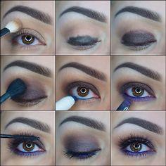 Brown with purple low eyelid makeup tutorial #evatornadoblog