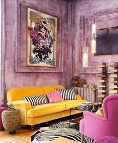 Living Room Yellow Pink - Attractive Living Room Desing Without Couch Living Room Color Schemes, Living Room Colors, Living Room Furniture, Living Room Decor, Smart Furniture, Living Rooms, Living Room Inspiration, Interior Design Living Room, Colorful Interiors