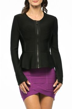 Exclusively rendered in our signature essentials bandage this jackets clean lines get a feminine finish from a peplum hemline. Wear it with one of our coordinating skirts for modern suiting.   Roselin Peplum Jacket by Herve Leger. Clothing - Jackets Coats & Blazers - Jackets Oklahoma