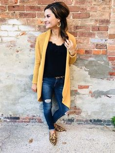 Shop the Look from justposted on ShopStyle - Casual fall outfit – mustard cardigan, lace cami, distressed jeans, leopard mules. Source by vanessa_reimer - Yellow Cardigan Outfits, Mustard Cardigan Outfit, Yellow Shoes Outfit, Leopard Shoes Outfit, Mustard Yellow Cardigan, Pointed Flats Outfit, Flat Mules Outfit, Casual Fall Outfits, Fall Winter Outfits