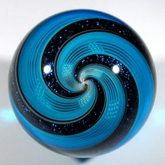 """Hot House Glass banded fine liner marble 1.69"""" 43 mm #213...beautiful blue swirl marble...cc!"""