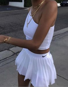 Cute trendy outfit with the Nike white tennis skirt and Nike white top𝘭𝘰𝘷𝘪𝘯𝘨𝘭𝘺𝘤𝘢𝘮 # outfits 2020 White Tennis Skirt, Tennis Skirts, Tennis Outfits, Nike Skirts, Tennis Clothes, White Skirt And Top, Cute Casual Outfits, Casual Summer Dresses, White Top Outfit Summer