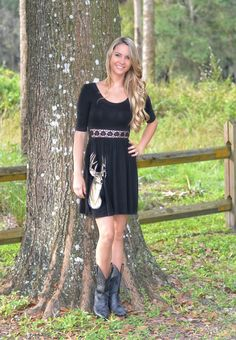 Sporty Girl Apparel - Black Deer Dress with  LACE detail front , $38.95 (http://www.sportygirlapparel.com/black-deer-dress-with-lace-detail-front/)