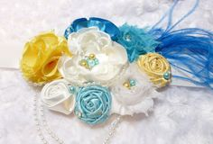 Couture  MATERNITY SASH /Blue/Yellow/ White/ Maternity Pregnancy Photo Prop/ Made in USA on Etsy, $24.00
