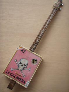 cigar box guitars | La Calavera, loteria card cigar box guitar