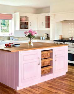 Romantic Pink Kitchen Color Scheme You Have To Know Kitchen Decoration pink kitchen decor Kitchen Colour Schemes, Kitchen Paint Colors, Bright Kitchen Colors, Color Schemes, Pink Kitchen Decor, Pink Kitchen Cabinets, White Cabinets, Pink Kitchen Designs, Painted Kitchen Island